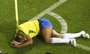 Rivaldo fakes an injury.
