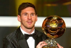 Lionel Messi collects his fourth Ballon d'Or award