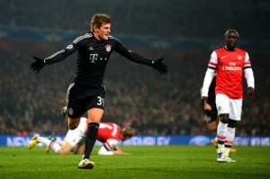 Toni Kroos celebrates opening the scoring in Bayern's 3-1 Champions League victory over Arsenal