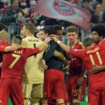 The Bayern Munich players celebrate after their team hammered Barcelona 4-0 in the first semi-final Champions League clash