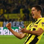Robert Lewandowski celebrates scoring in Dortmund's 4-1 Champions League victory over Real Madrid