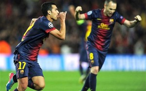 Pedro celebrates after equalising for Barcelona against PSG in the Champions League