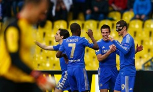 The chelsea players celebrate Fernando Torres' opening goal in the 3-2 defeat at Russian side Rubin
