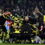 Dortmund celebrate their 3-2 victory over Malaga in the Champions League quarter-finals