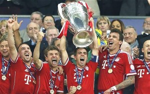 Bayern Munich lift the Champions League trophy after beating arch-rivals Dortmund 2-1
