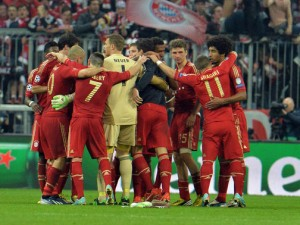 Bayern Munich celebrate their Champions League victory over Barcelona in the semi-final secong leg