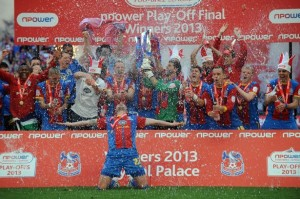 The Crystal Palace players celebrate their 1-0 Championship play-off win over Watford yesterday