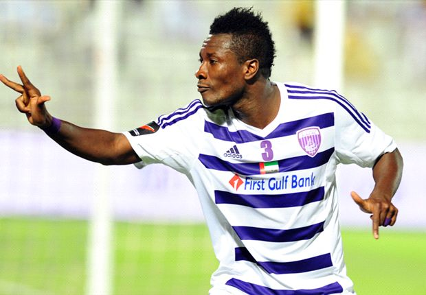 Al Ain striker Asamoah Gyan has insisted he is happy at the club amid reports suggesting West Ham United have made a loan approach for him.