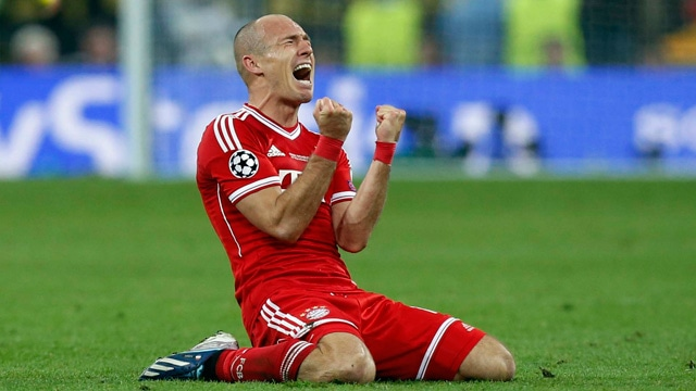 Bayern's Arjen Robben of the Netherlands reacts after the final whistle