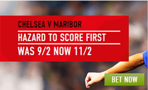 Che v Mar Lad opt 1 Chelsea v Maribor – Eden Hazard is 11/2 Betting Odds to Score First