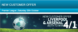 Liv Ars BV opt 1 New Customer Offer – Get Liverpool & Arsenal Both to Win at 4/1