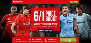 Liv v Cit Lad opt 1 300x143 Liverpool v Man City – Man City is 6/1 Enhanced Odds to Win