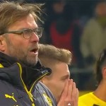 Dortmund boss watches on as Mats Hummels and Roman Weidenfeller talk to fans after their 1-0 home defeat to Augsburg left them rooted to the bottom of the Bundesliga table
