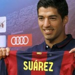 Barcelona's Luis Suarez scored a brace in his team's 3-1 win at PSG in the Champions League quarter-final first leg