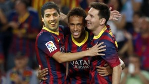 Barcelona's front three of Lionel Messi, Neymar and luis suarez helped the catalan giants record a 5-3 aggregate victory over Bayern Munich in the champions League semi-finals