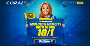 Champions League Tonight: Man United and Man City both to win 10/1