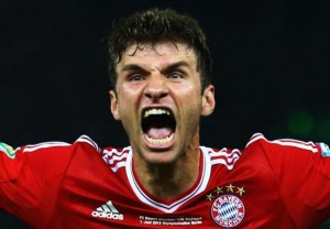 Thomas Muller scored twice in Bayern Munich's 5-1 demolition of Arsenal in the Champions League on Wednesday night