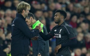 Liverpool manager Jurgen Klopp shakes hands with Daniel Sturridge after he is substituted during the Capital One Cup Quarter Final match between Southampton and Liverpool played at St Mary's Stadium, Southampton on December 2nd 2015 Capital One Cup 2015/16 Quarter Finals Southampton v Liverpool Saint Mary's Stadium, Britannia Road, Southampton, United Kingdom - 2 Dec 2015 Photo by Kieran McManus/BPI/REX Shutterstock (5470166as)