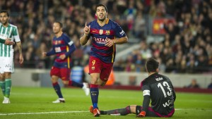Luis Suarez has grew in stature at Barcelona and surpassed the 40 goal mark for the Catalan giants against Sporting Gijon