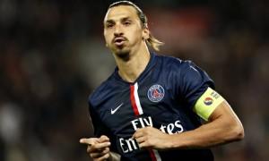 Zlatan Ibrahimovic celebrates scoring for Paris Saint Germain against St Etienne.