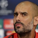 New Manchester City boss Pep Guardiola looking concerned following the Citizen's 1-0 defeat against arch-rivals Manchester United