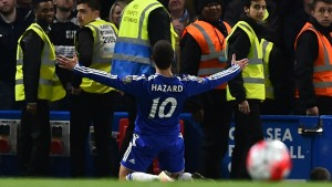 Chelsea's Eden Hazard scored the Chelsea Goal of the Season against Tottenham in 2015/16 as his form returned in Spring.