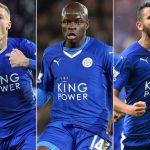 Leicester City's outstanding performers: Jamie Vardy, N'Kolo Kante, Riyad Mahrez.
