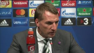 Celtic boss Brendan Rodgers watched on as his team were hammered 7-0 at Barcelona