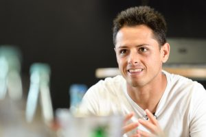 "Bayer 04 Leverkusen striker Javier ""Chicharito"" Hernandez is interviewed during the Bayer 04 Leverkusen international media event on September 22nd, 2016. Photograph: Joerg Schueler"