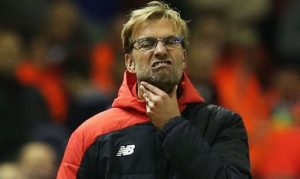 Jurgen Klopp frustrated by a goalless draw against Man United / Image via express.co.uk