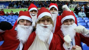 Fans getting into the spirit of Christmas at the football
