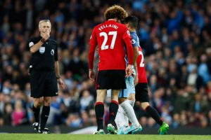 Manchester United midfielder Marouane Fellaini headbutts Aguero