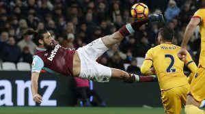 West Ham United's Andy Carroll scores wonderful bicycle kick